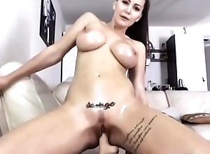 Horn-mad babe riding dildo
