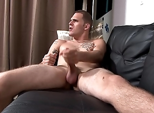 Tattooed soldiers stud solo tugging fat cock